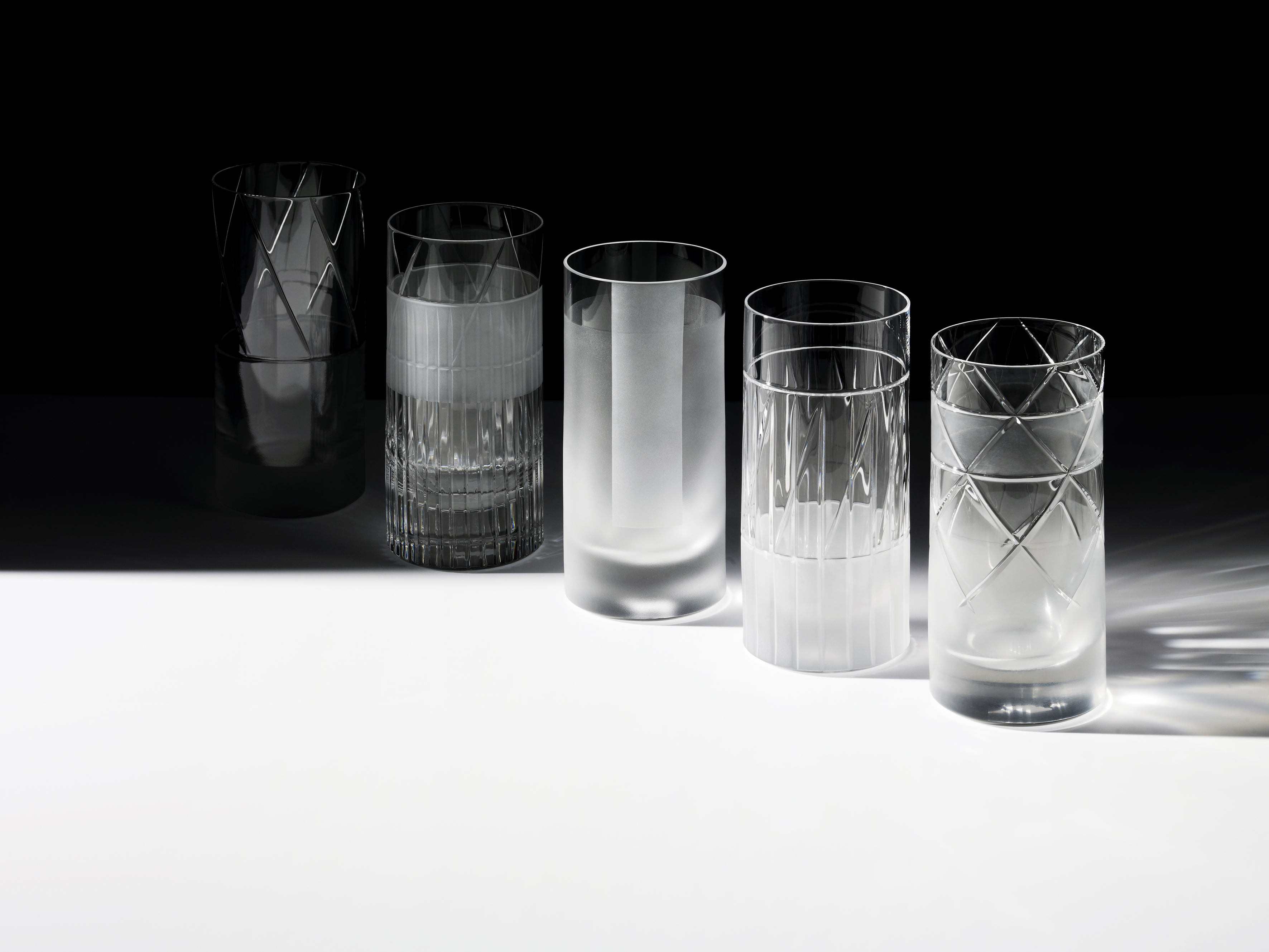 Long Drink glasses of the 'Elements' collection designed by Scholten & Baijings for J. Hill's Standard - Photography Tom Brown