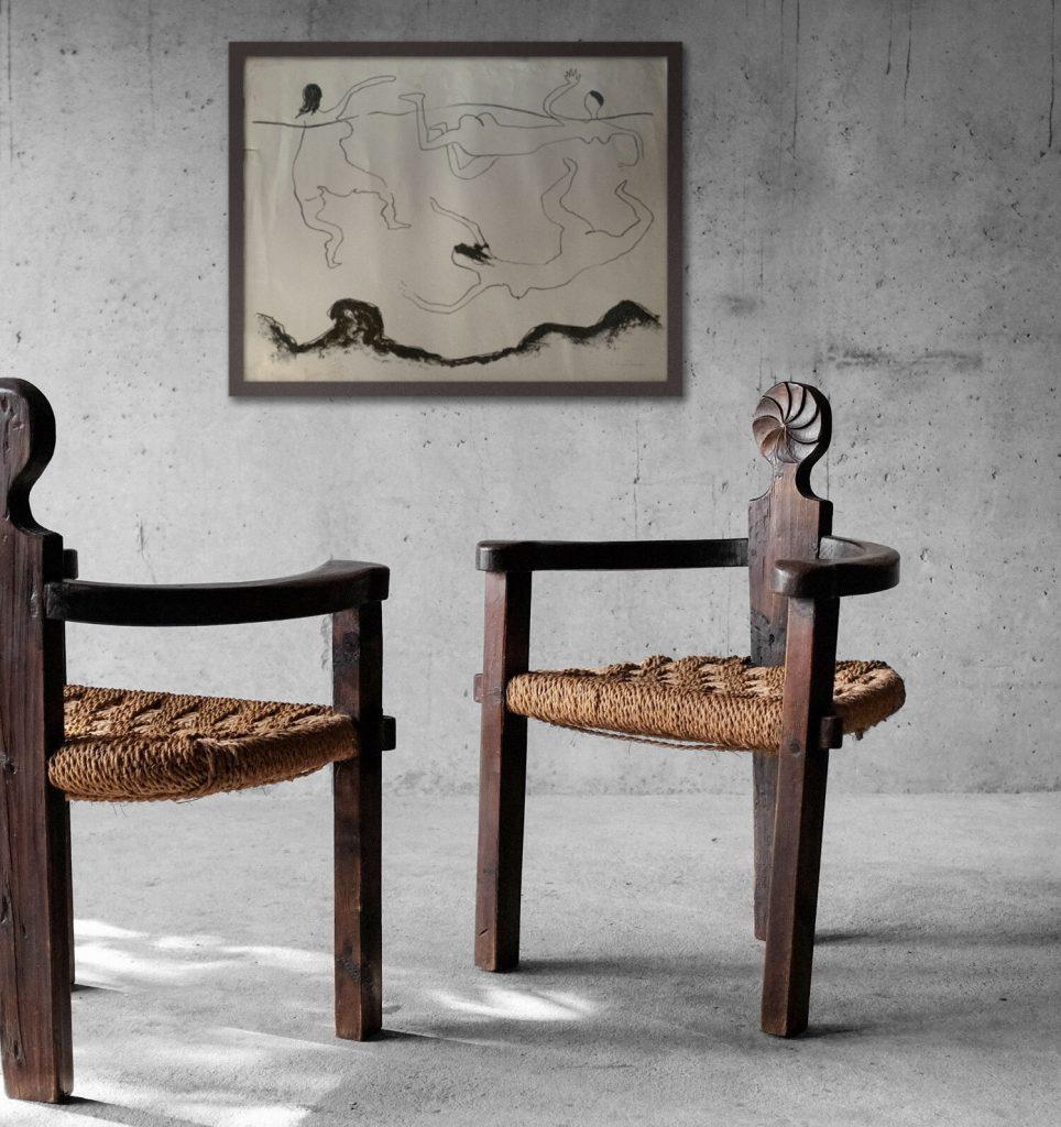 Chaises bois et corde début XXème siècle français chez Roam Antics
