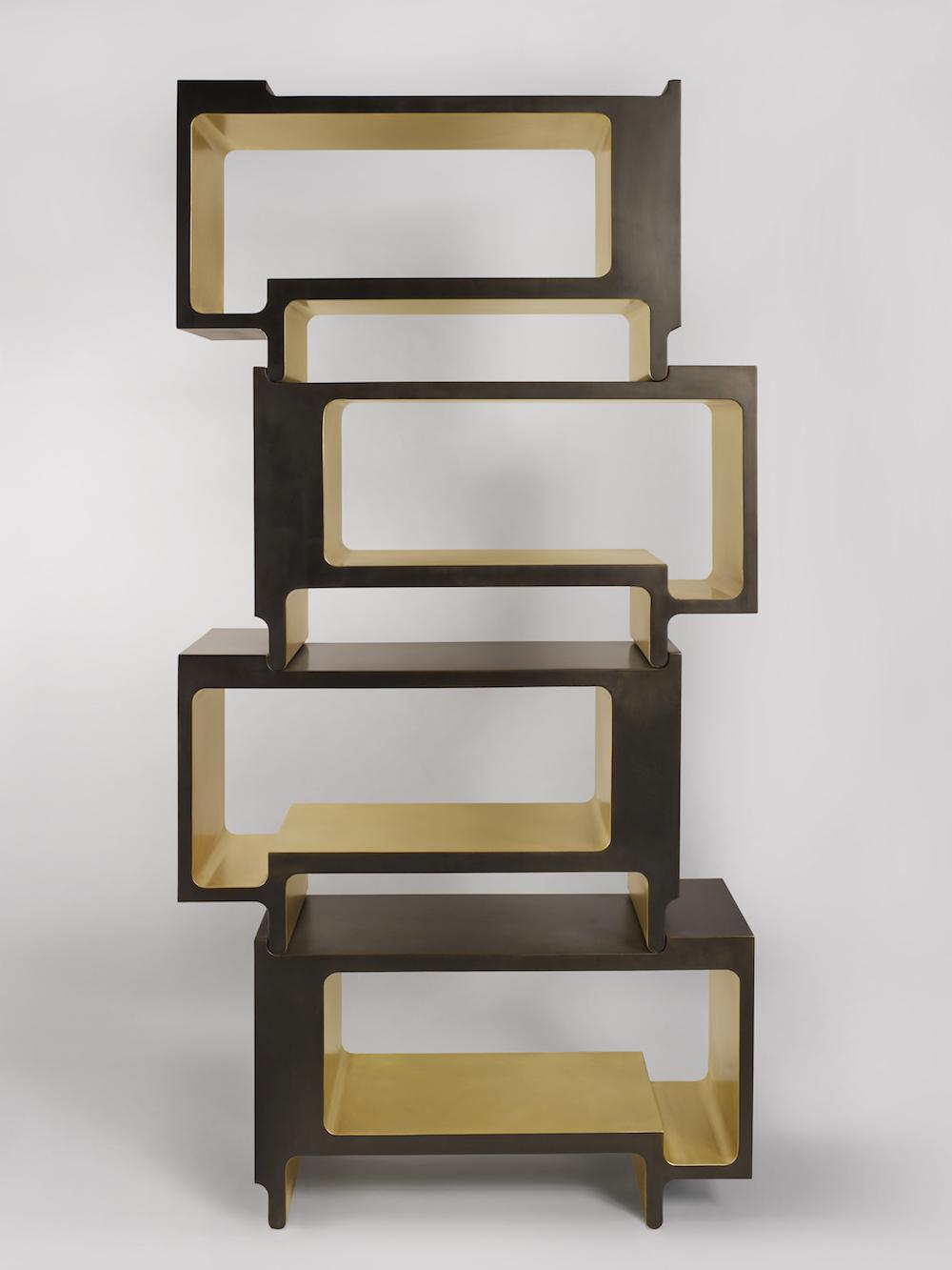 Galerie BSL Bibliothèque Design MVW XiangSheng II Shelving Unit bronze courtsy of Galerie BSL