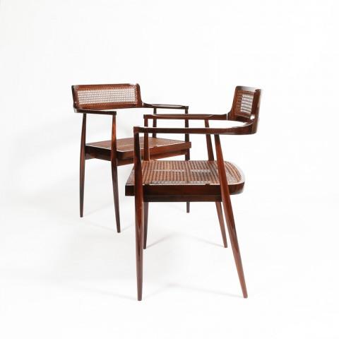Galerie James Chaises (1958) jacaranda wood design Joaquim Tenreiro,  Courtesy Galerie James