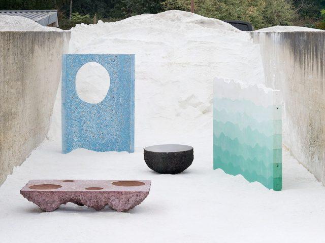 """Installation """"Petrified Carpets"""" combinaison de pierre, ciment , pigment par le Studio Ossidiana Photo Credits: EH Kyoungtae Kim"""