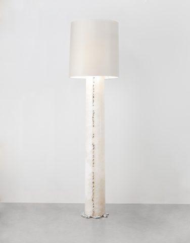 Lampadaire 'Onyx' création Mattia Bonetti Onyx argent bronze soie 2014 David Gill Gallery