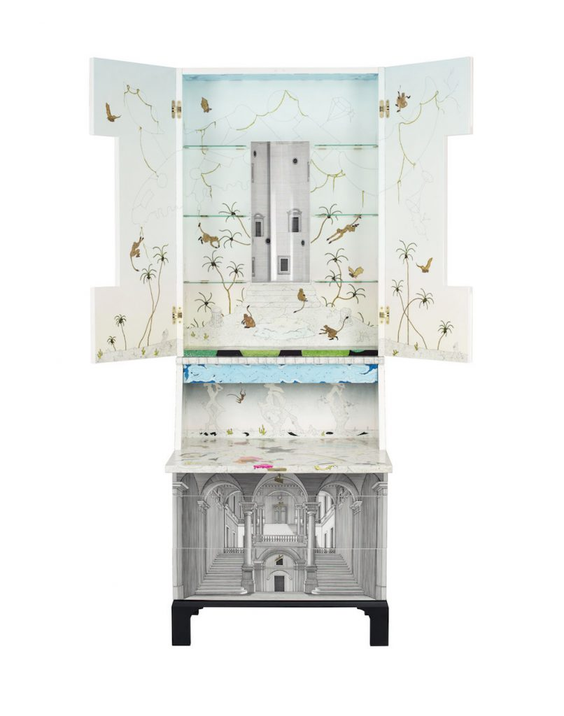 """Meuble Architecture """"Secrets of Time"""" sérigraphié sur bois, métal, verre, aquarelle et encre, Anj Smith pour Fornasetti"""