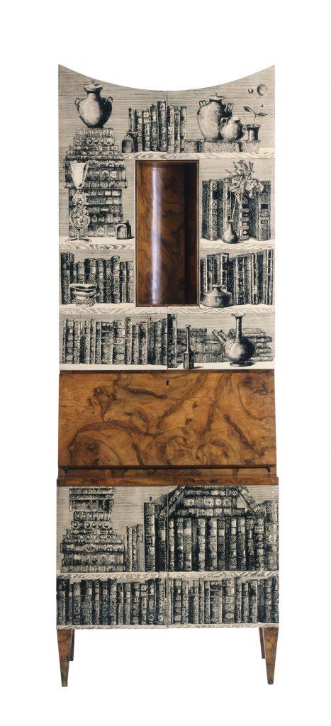"""Meuble secrétaire """"Libri"""" en racine de bruyère laqué, motifs appliqués à la main Fornasseti"""