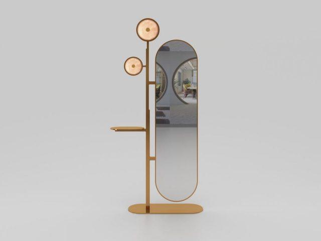 Miroir sur pied laiton, luminaire jade rose rétro éclairé, Collection Jinshi, Studio MVW, Galerie BSL