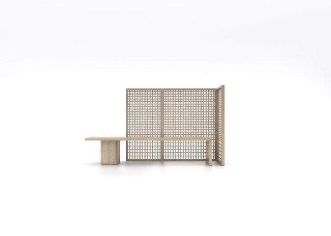 Mobilier Collection Khora faits à la main par des artisans japonais , chataignier, bambou création par l'architecte Shigeru Uchida et Adrien Cheng