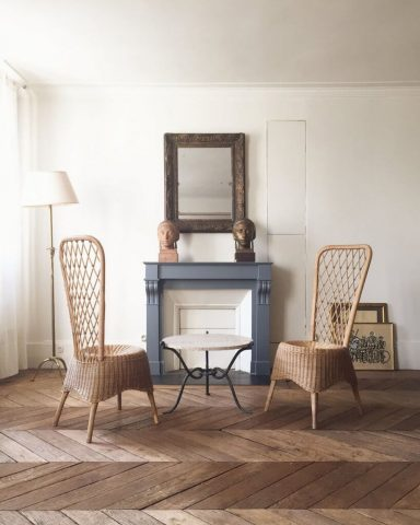 Paire de chaise, design Jean Royère 1950, Atelier Vime