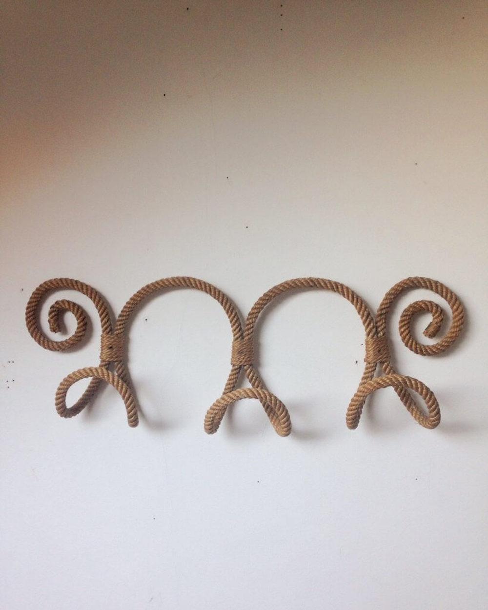 Patère en corde, création Audoux-Minet Circa 1950, Atelier Vime