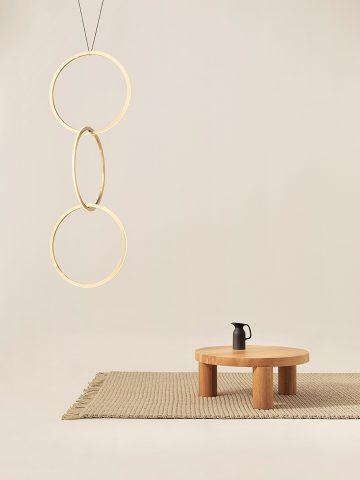 """Pendentifs """"Cercles"""" lumineux en laiton éclairage LED par Philippe Malouin pour Resident"""