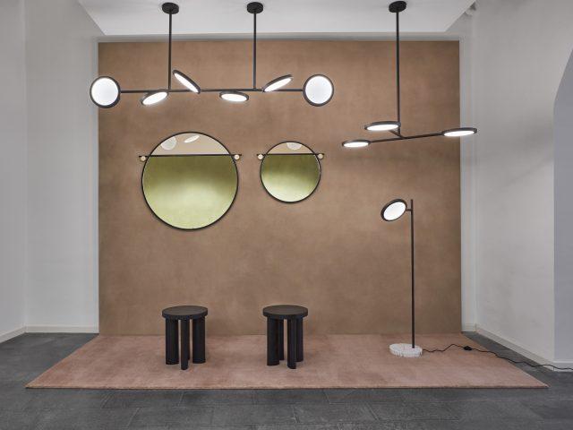 Suspensions lumineuses Discus miroirs Abal Stools Orbit, Matter Made