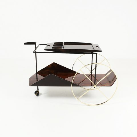 Table roulante Carrinho de cha, Jacaranta, laiton,métal, design Jorge Zalszupin, Galerie James