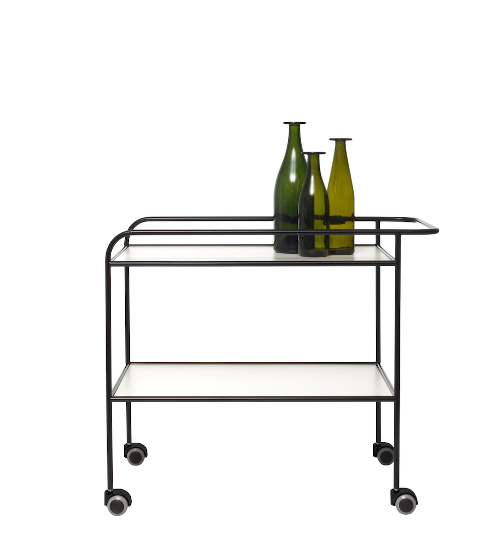 Table roulante design Shiro Kuramata Steel Pipe Drink, Cappellini