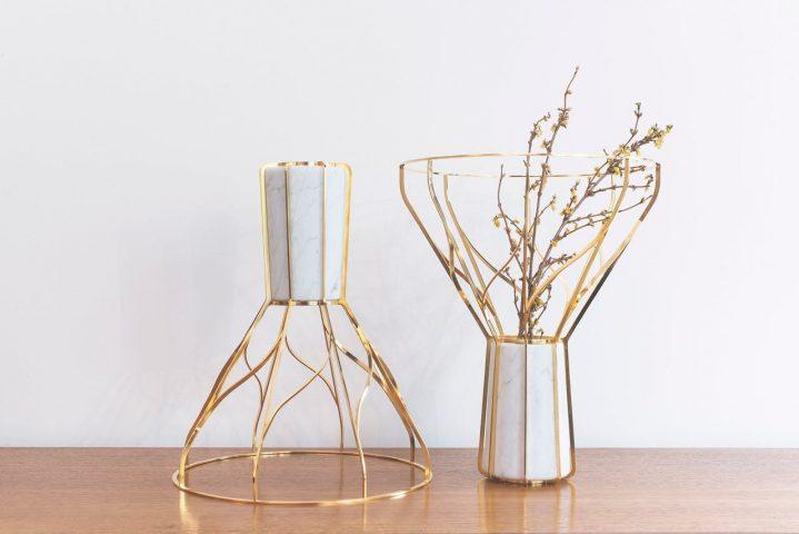 Vases Acropora, marbre et laiton de Joran Briand Galerie Perpitch&Bringand