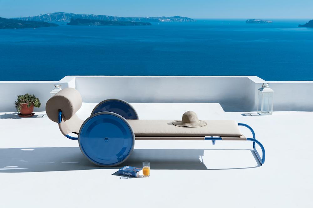 Chaise longue Sdraio Prendisole en acier tubulaire design Gae Aulenti, réédition, Exteta