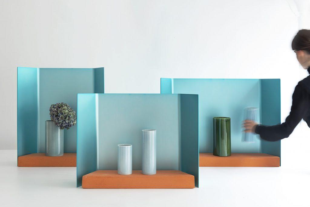 vases Fenêtre en faïence, fonte d'aluminim et terre cuite design Ronan et Erwan Bouroullec pour Maison Matisse